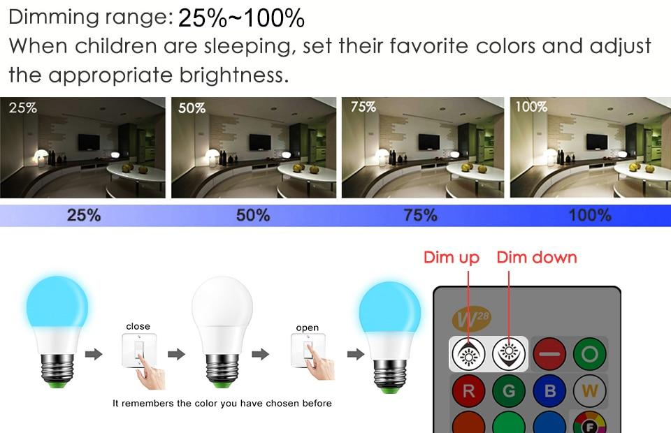 LED RGB 16 color bulb with remote control